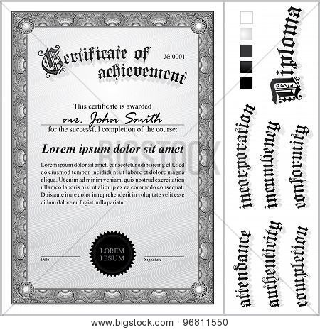Vector illustration of black and white certificate. Template. Vertical. Additional design elements.