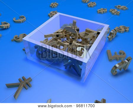 Currency Symbols Il A Box, Blue Abstract Illustration
