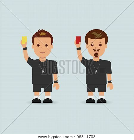 Soccer referees holding red and yellow card