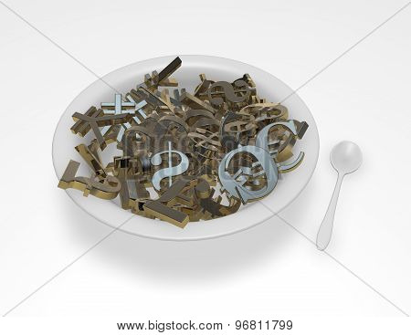 Currencies Symbols In A Bowl, Money Exchange, Forex Abstract Concept