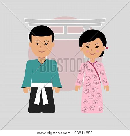 Man and woman in Japanese costumes