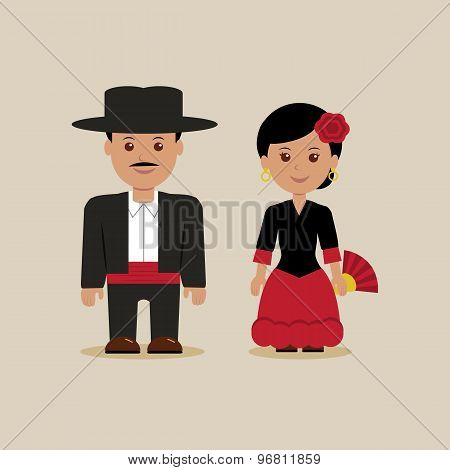 Man and woman in Spanish costumes
