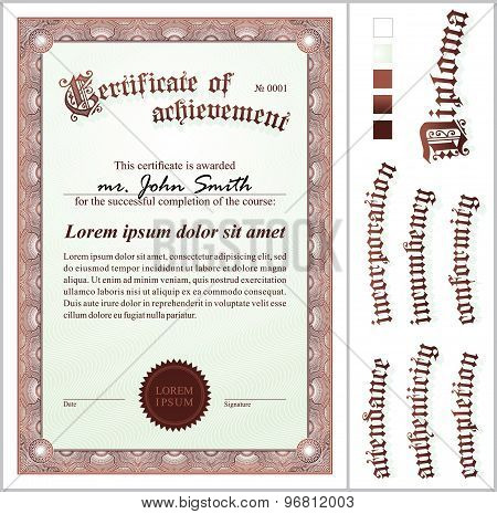 Vector illustration of brown certificate. Template. Vertical. Additional design elements.