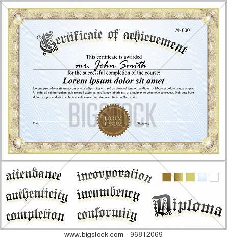 Vector illustration of gold certificate. Template. Horizontal. Additional design elements.
