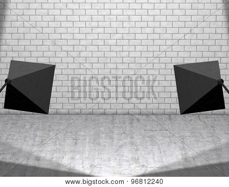 Empty Product Stage With Studio Lights, Background With Copy Space
