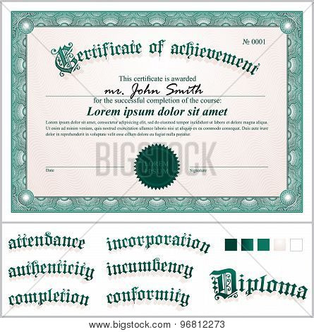 Vector illustration of green certificate. Template. Horizontal. Additional design elements.