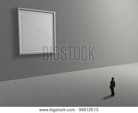 Empty Room Background With Person And Blank Picture Frame, Empty Copy Space For Your Presentation