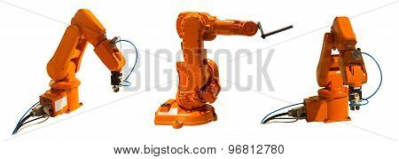 Robotic Arm Welder On White Isolated Background(clipping Path).