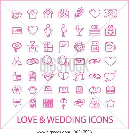 love, wedding, romance line icons set, vector