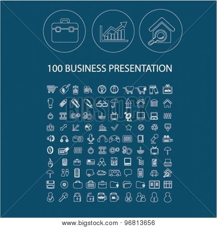 business presentation line flat isolated icons set, vector