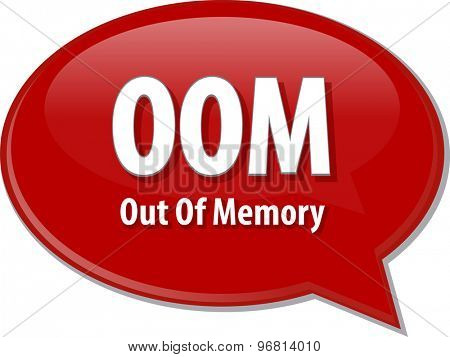 Speech bubble illustration of information technology acronym abbreviation term definition OOM Out of Memory