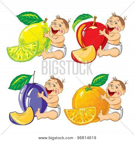 drawing cartoon smiling baby with a orange, lemon, plum and apple and slices