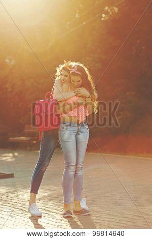 Best Friends. Girl Hugs.