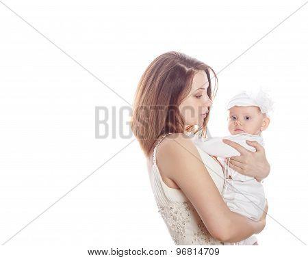 A Mother Holds A Newborn Daughter.
