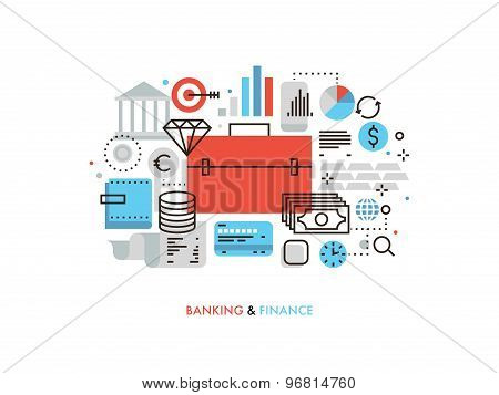 Finance And Banking Flat Line Illustration