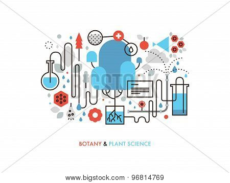 Plant Science Flat Line Illustration