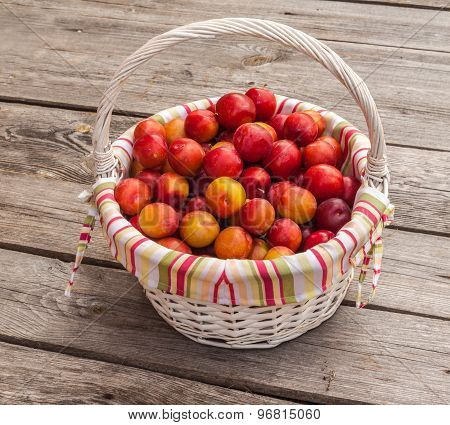 Wicker Basked Filled With Multiple Red Victoria Plums