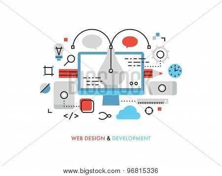 Web Design Flat Line Illustration