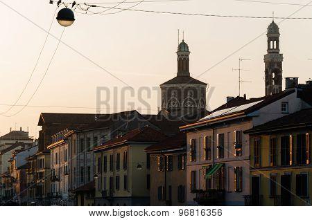 View Of Naviglio Grande Street At Sunset