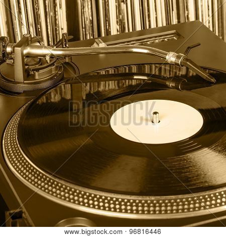 Dj Needle Stylus On Spinning Record