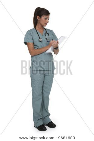 Pretty Healthcare Worker On White