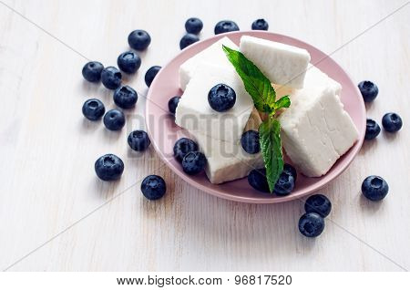 Gentle Souffle With Blueberries