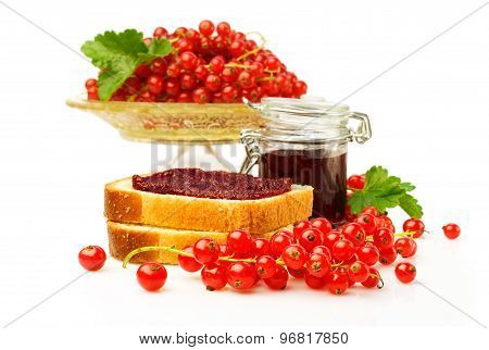 Red Currants And Sandwiches With Jam