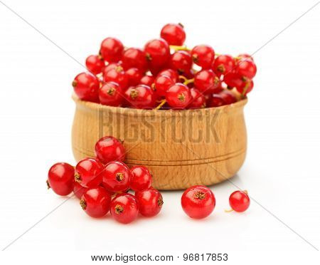 Red Currant In Wooden Bowl