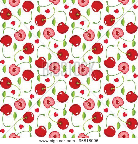 Cherries And Hearts Seamless Pattern