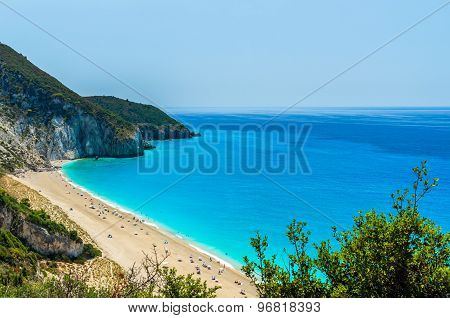 Milos Beach On Lefkada Island, Greece.