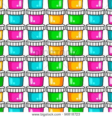 Pattern. Paints for drawing. A set of colored paints on a white background