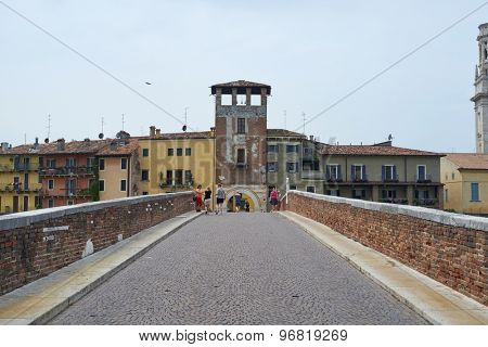 VERONA, ITALY - JULY 13: Verona seeing from atop Pietra Bridge. July 13, 2015 in Verona.