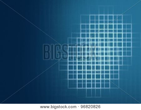 Abstract fractal blue checkered background with copy space