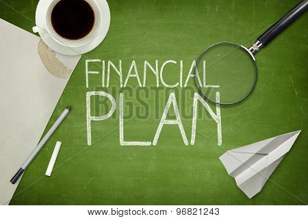 Financial plan concept on blackboard with empty paper sheet