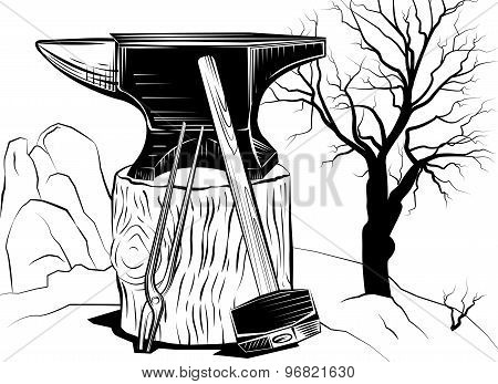 Illustration with a sledge hammer and an anvil on a tree stump on a background of dead tree