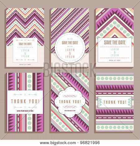 Set Of Six Wedding Cards With Geometric Ornaments
