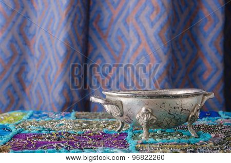 Moroccan Metal Bowl Placed On A Table