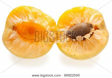 Ripe Splitted Apricot Isolated On White