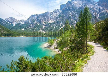 Hiking Trail At Lake Braies