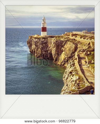 Instant Photo Of Lighthouse Of Europa Point In Gribraltar