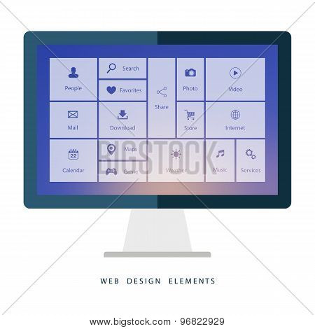 Desktop computer with interface elements on blurred background.