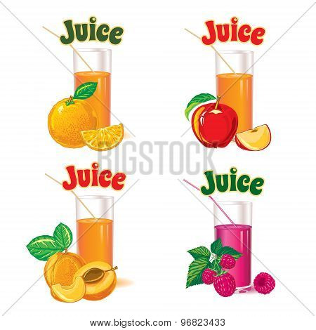 set of  glasses for juice from the ripe orange, apple, raspberry and apricot