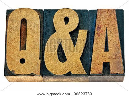 Q&A - questions and answers acronym - isolated text in vintage letterpress wood type printing blocks