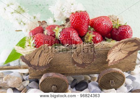 Strawberries On Miniature Old Carts