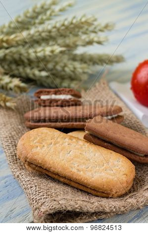 Heap Of Cereal Biscuits On Piece Of Burlap