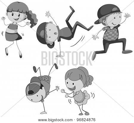 Girls and boys dancing in black and white