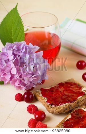 Toast Bread With Marmalade And Fruit Around