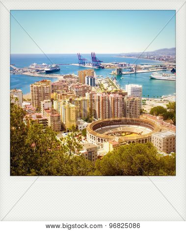 Instant Photo Of Malaga With Bullring And Harbor