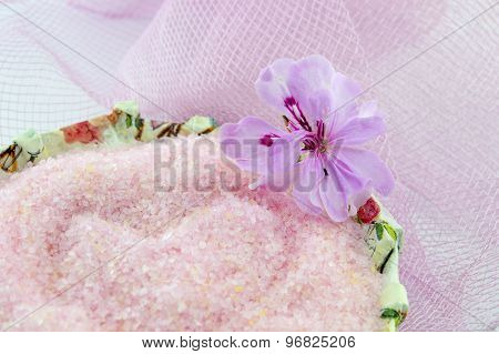 Pink Flower With Pink Bath Salt In Decoupage Decorated  Bowl On Pink Background