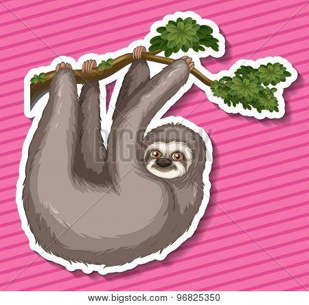 Sticker of a monkey swinging on a branch